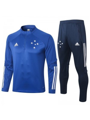 Cruzeiro Blue Half Zip Mens Training Soccer Tracksuit 2020-2021
