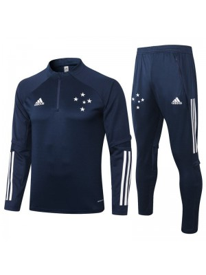 Cruzeiro Royal Blue Half Zip Mens Training Soccer Tracksuit 2020-2021