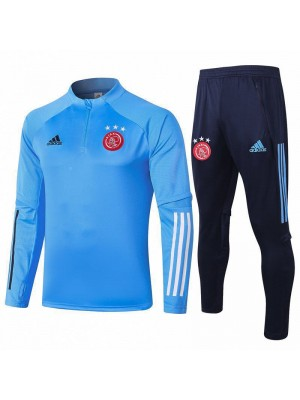 Ajax Half Zip Light Blue Mens Training Soccer Tracksuit 2020-2021