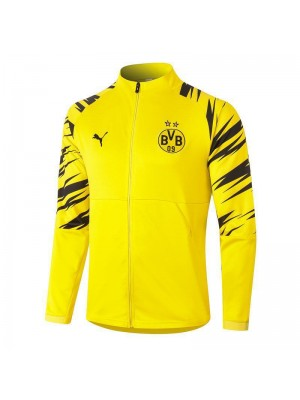 Borussia Dortmund Black Stripes Sleeve Full Zipper Yellow Jacket Tracksuit 2020-2021