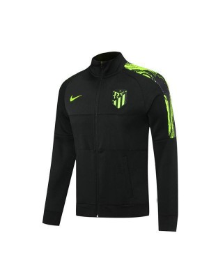 Atletico  Madrid Black Football Mens Soccer Jacket Green Logo 2020-2021