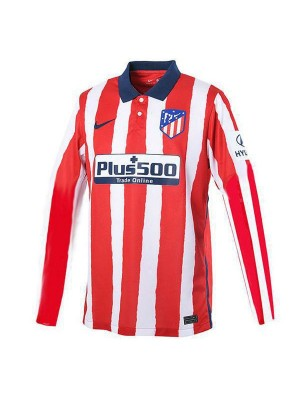 Atletico De Madrid Home Long Sleeve Soccer Jersey Mens Football Shirt 2020-2021