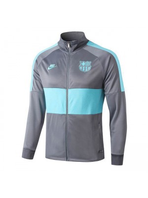 Barcelona Light Gray/Green Long Zip High Neck Jacket 2019-2020