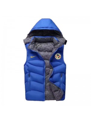 Club America Padded Vest Blue Sleeveless Full Zip Gilet 2020-2021