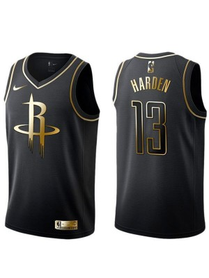 2019 All Star Game Houston Rockets 13 James Harden Nba Black Golden Basketball Jersey