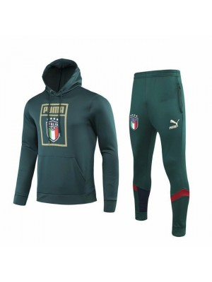 Italy Dark Green Hoodie Soccer Sweatshirt Kit 2019-2020