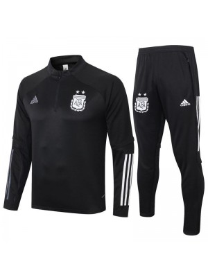 Argentina Black Half Zip Mens Training Soccer Tracksuit 2020-2021