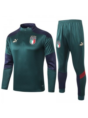 Italy Dark Green Half Zip Mens Training Soccer Tracksuit 2020-2021