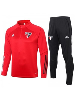 Sao Paulo Red Half Zip Mens Training Soccer Tracksuit 2020-2021