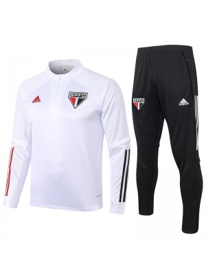 Sao Paulo White Half Zip Mens Training Soccer Tracksuit 2020-2021