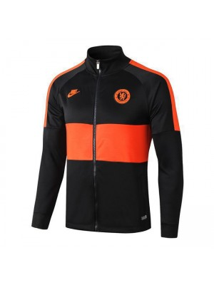 Chelsea Black High Neck Soccer Jacket Orange Logo 2019-2020