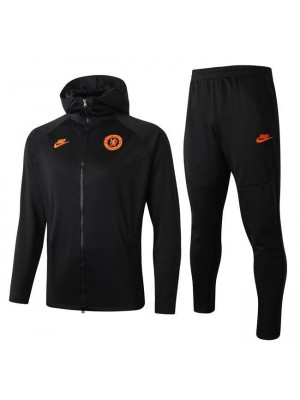 Chelsea Black Hoodie Soccer Jacket Kit Orange Logo 2019-2020