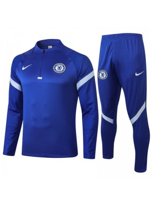 Chelsea Blue Half Zip Mens Training Soccer Tracksuit 2020-2021