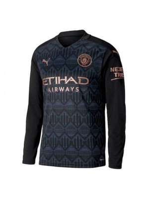 Manchester City Away Long Sleeve Soccer Jersey Mens Football Shirt 2020-2021