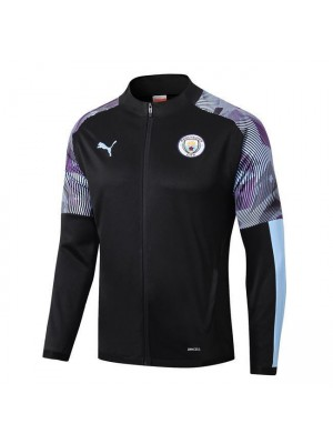Manchester City Black Pad Printing Long Zipper Jacket 2019-2020