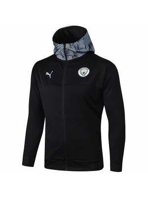 Manchester City Black Hooded Jacket Suit Borland Football Training Kit 2019-2020