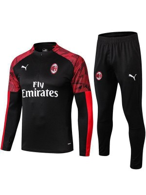 AC Milan Tracksuit Soccer Black Football Training Jersey 2019-2020