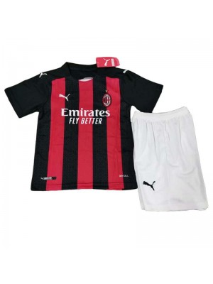 AC Milan Home Kids Kit Soccer Jersey Football Youth Uniforms 2020-2021