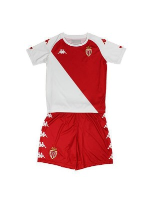 AS Monaco Home Kid Kit Soccer Jerseys Football Shirts Uniforms 2020-2021