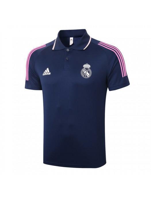 Real Madrid Soccer Royal Blue Jersey Football White Logo Polo Uniform 2021-2022