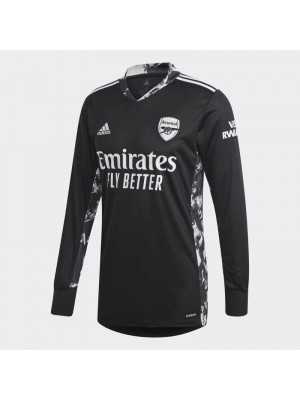 Arsenal Goalkeeper Black Long Sleeve Soccer Jersey Match Mens Sportwear Football Shirt 2020-2021
