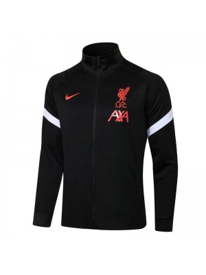 Liverpool Black High Neck Soccer Jacket Mens Football Tracksuit Uniforms 2021-2022