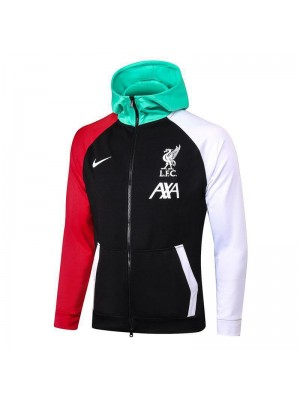 Liverpool Black Soccer Hoodie Jacket Red/White Sleeve Football Tracksuit 2020-2021