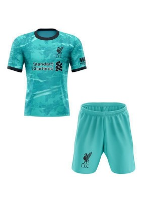 Liverpool Away Soccer Jersey Kids Kit Green 2020-2021