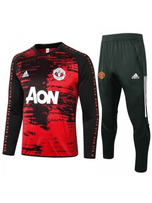 Manchester United Red Round Neck Mens Tranining Soccer Tracksuit 2020-2021