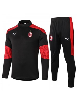 AC Milan Half Zip Black Mens Training Soccer Tracksuit 2020-2021